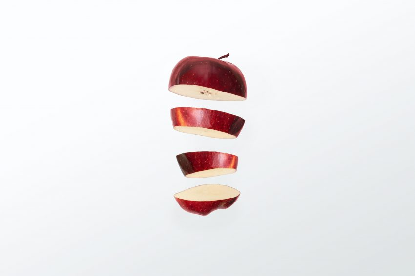 red apple sliced
