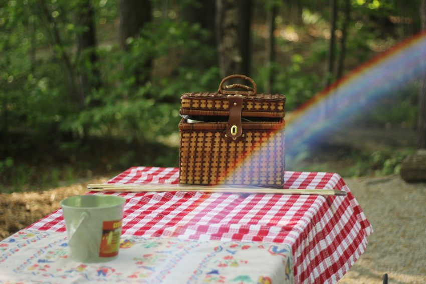 picnic basket on table